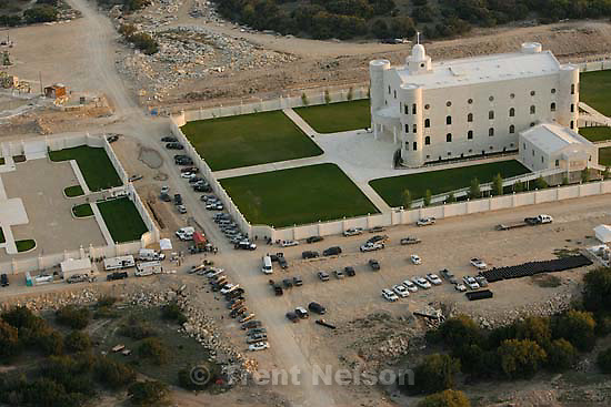 "Eldorado - Aerial views of the FLDS compound YFZ ""Yearning for Zion"" Ranch, Tuesday, April 8, 2008. Law enforcement continued their search operation (including the FBI). temple"