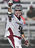 Jamie Atkinson #5 of Garden City reacts after scoring a goal in double overtime to lift the Trojans to a 4-3 win over Hewlett in a Nassau County varsity boys lacrosse game at Garden City High School on Wednesday, May 3, 2017. The game-winning goal was his second of tightly contested matchup.