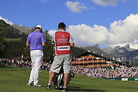 Matthew Fitzpatrick (ENG) prepares to play his 2nd shot on the 18th hole during Sunday's Final Round 4 of the 2018 Omega European Masters, held at the Golf Club Crans-Sur-Sierre, Crans Montana, Switzerland. 9th September 2018.<br /> Picture: Eoin Clarke | Golffile<br /> <br /> <br /> All photos usage must carry mandatory copyright credit (&copy; Golffile | Eoin Clarke)