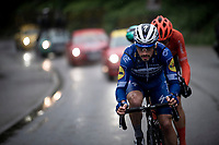 succesfull early breakaway group consisting of: Julian Alaphilippe (FRA/Deceuninck - Quick-Step), Gregor Mühlberger (AUT/Bora-Hansgrohe) & Alessandro De Marchi (ITA/CCC) plowing through the rain<br /> <br /> Stage 6: Saint-Vulbas to Saint-Michel-de-Maurienne (228km)<br /> 71st Critérium du Dauphiné 2019 (2.UWT)<br /> <br /> ©kramon