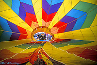 Inside, Hot Air Balloon, Red, Blue, Yellow, being inflated,
