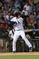 AFL West first baseman Evan White (15), of the Peoria Javelinas and Seattle Mariners organization, at bat during the Arizona Fall League Fall Stars game at Surprise Stadium on November 3, 2018 in Surprise, Arizona. The AFL West defeated the AFL East 7-6 . (Zachary Lucy/Four Seam Images)