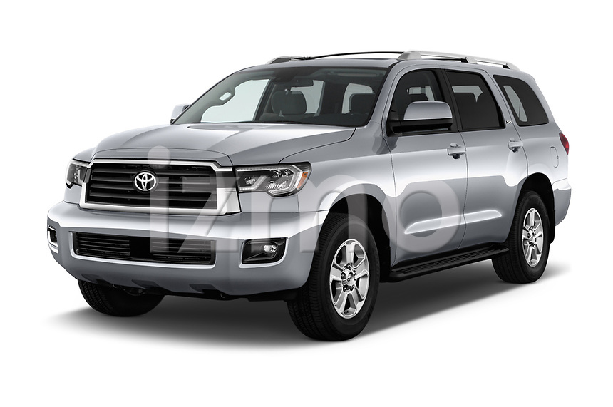 2018 Toyota sequoia sr 5 Door SUV angular front stock photos of front three quarter view