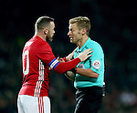 Wayne Rooney of Manchester United talks to referee Mike Jones during the English League Cup Quarter Final match at Old Trafford  Stadium, Manchester. Picture date: November 30th, 2016. Pic Simon Bellis/Sportimage