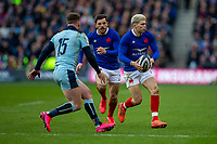 8th March 2020; Murrayfield Stadium, Edinburgh, Scotland; International Six Nations Rugby, Scotland versus France; Matthieu Jalibert of France looks to pass the ball