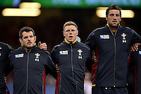 Rhys Priestland of Wales sings the national anthem prior to the match. Rugby World Cup Pool A match between Wales and Fiji on October 1, 2015 at the Millennium Stadium in Cardiff, Wales. Photo by: Patrick Khachfe / Onside Images