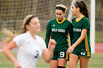 MIDDLETOWN, CT-111817JS33- Holy Cross' Kiley Harnish (9) and Adalisse Padilla (10) make their way off the field as Old Lyme's  Bianca Tinnerello (3) goes out to celebrate with teammates following their 2-1 overtime win in the Class S state final game Saturday at Middletown High School.<br /> Jim Shannon Republican-American