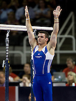 Alex Buscaglia of Hilton HHonors competes on the parallel bars during the 2012 US Olympic Trials competition at HP Pavilion in San Jose, California on June 28th, 2012.