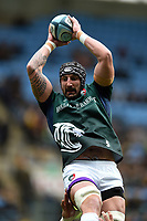 Will Spencer of Leicester Tigers in action during the pre-match warm-up. Gallagher Premiership match, between Wasps and Leicester Tigers on September 16, 2018 at the Ricoh Arena in Coventry, England. Photo by: Patrick Khachfe / JMP
