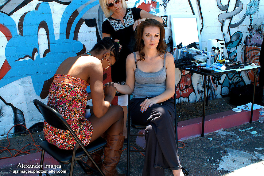 AJ Alexander - Wardrobe Alexis Hamilton and Assistant Make Up and Hair Cindy Reyna work on Jamie Jurju on the set of Mind Over Matter on Friday May 13, 2011.  .Make Up Artist Jessica Fierro.Photo by AJ Alexander