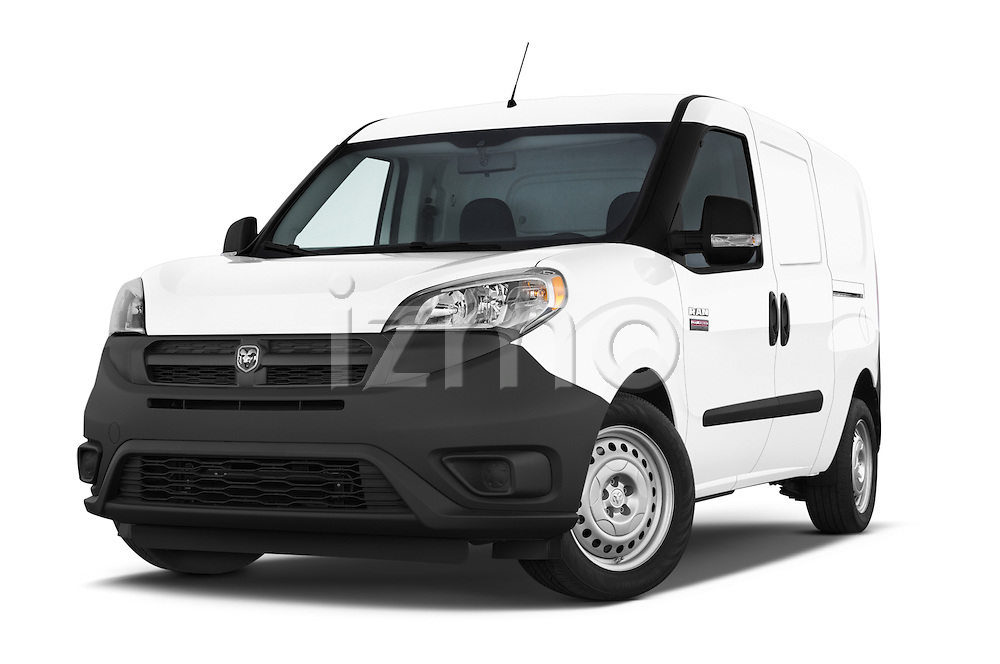 Stock pictures of low aggressive front three quarter view of a 2015 Ram Promaster City Trademans 4 Door Cargo Van