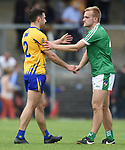 Dean Ryan of Clare and Sean O Dea of Limerick meet following their Munster championship quarter-final game in Cusack park. Photograph by John Kelly.