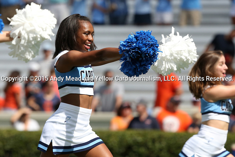 19 September 2015: UNC cheerleader. The University of North Carolina Tar Heels hosted the University of Illinois Fighting Illini at Kenan Memorial Stadium in Chapel Hill, North Carolina in a 2015 NCAA Division I College Football game. UNC won the game 48-14.