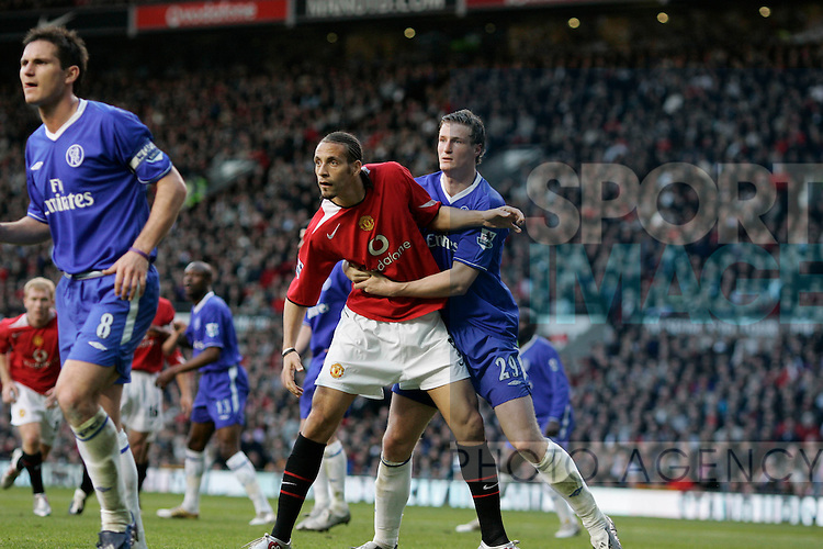 Manchester United's Rio Ferdinand and Chelsea's Robert Huth in the Premiership match at Old Trafford, Manchester, 10 May, 2005..Pic © Simon Bellis, 33 Parkway New Mills, High Peak, SK22 4DU..Any problems call 07980659747 or 01663 746519. .email: simon@simonbellis.com