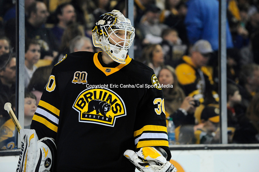 January 20, 2014 - Boston, Massachusetts, U.S. - Boston Bruins goalie Chad Johnson (30) in game action during the NHL game between Los Angeles Kings and the Boston Bruins held at TD Garden in Boston Massachusetts. The Bruins defeated the Kings 3-2 in regulation time.   Eric Canha/CSM