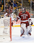 Brian Gibbons (BC - 17), Ben Smith (BC - 12), Kyle Richter (Harvard - 33) - The Boston College Eagles defeated the Harvard University Crimson 6-0 on Monday, February 1, 2010, in the first round of the 2010 Beanpot at the TD Garden in Boston, Massachusetts.