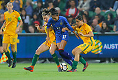 26th March 2018, nib Stadium, Perth, Australia; Womens International football friendly, Australia Women versus Thailand Women; Taneekarn Dangda of Thailand keeps control of the ball as she is tackled by Matildas pair Elise Kellond-Knight and Alex Chidiac during the first half