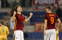 Calcio, Serie A: Roma vs Frosinone. Roma, stadio Olimpico, 30 gennaio 2016.<br /> Roma&rsquo;s Stephan El Shaarawy, left, celebrates past his teammate Edin Dzeko after scoring during the Italian Serie A football match between Roma and Frosinone at Rome's Olympic stadium, 30 January 2016.<br /> UPDATE IMAGES PRESS/Isabella Bonotto