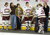 Laura Hart (BC - 27), Brett Hart, Julie Hart, Katelyn Kurth (BC - 14), Michele Kurth, Molly Schaus (BC - 30), Richard Kurth - The Boston College Eagles and the visiting University of New Hampshire Wildcats played to a scoreless tie in BC's senior game on Saturday, February 19, 2011, at Conte Forum in Chestnut Hill, Massachusetts.