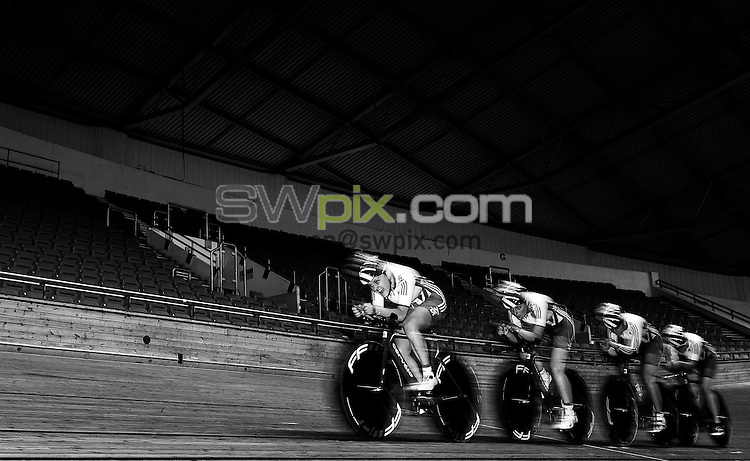 Picture by Alex Whitehead/SWpix.com - 14/06/2016 - Cycling - Great Britain Cycling Team Track Training Session - National Cycling Centre, Manchester, England - GB Academy riders in action. (from left) Megan Barker, Abigail Dentus, Dannielle Khan and Emily Nelson.