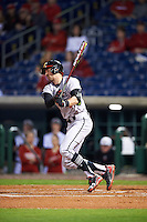 Maryland Terrapins first baseman Brandon Gum (5) at bat during a game against the Louisville Cardinals on February 18, 2017 at Spectrum Field in Clearwater, Florida.  Louisville defeated Maryland 10-7.  (Mike Janes/Four Seam Images)