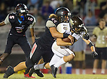 Lawndale, CA 11/11/16 - Naki Fahina (Lawndale #44), Shige Kato (West Torrance #18) and Hunter Williams (Lawndale #5) in action during the West Torrance - Lawndale CIF first round playoffs.  Lawndale defeated West Torrance 48-14.