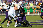 TCU Horned Frogs defensive end Ben Banogu (15) in action during the game between the Baylor Bears and the TCU Horned Frogs at the Amon G. Carter Stadium in Fort Worth, Texas.