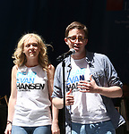 Rachel Bay Jones and Will Roland on stage at United Airlines Presents #StarsInTheAlley free outdoor concert in Shubert Alley on 6/2/2017 in New York City.