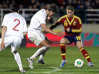 Spain's Deulofeu and Norway's Linnes (b) and Rogne during an International sub21 match. March 21, 2013.(ALTERPHOTOS/Alconada) /NortePhoto