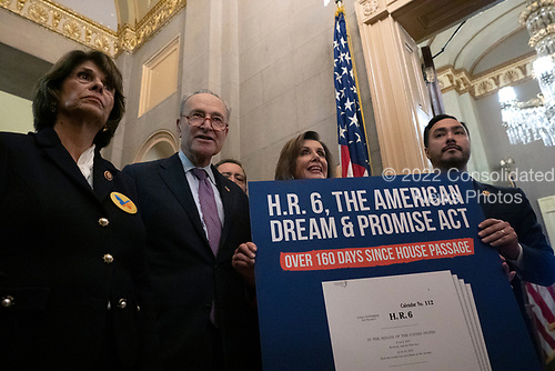 Democratic lawmakers march to United States Senate Majority Leader Mitch McConnell's (Republican of Kentucky) office following a press conference on the Deferred Action for Childhood Arrivals program on Capitol Hill in Washington D.C., U.S. on Tuesday, November 12, 2019.  The Supreme Court is currently hearing a case that will determine the legality and future of the DACA program.  <br /> <br /> Credit: Stefani Reynolds / CNP