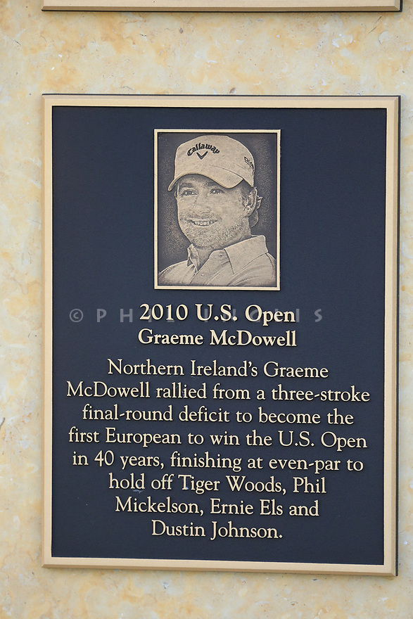 Graeme McDowell plaque near 1st tee during the final round of the AT&T Pro-Am , Pebble Beach Golf Links, Monterey, USA. 11/02/2019<br /> Picture: Golffile | Phil Inglis<br /> <br /> <br /> All photo usage must carry mandatory copyright credit (© Golffile | Phil Inglis)