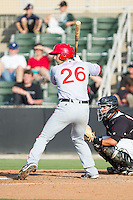 Carlos Lopez (26) of the Hagerstown Suns at bat against the Kannapolis Intimidators at CMC-Northeast Stadium on May 31, 2014 in Kannapolis, North Carolina.  The Intimidators defeated the Suns 3-2 in game one of a double-header.  (Brian Westerholt/Four Seam Images)