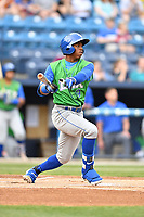 Lexington Legends center fielder Khalil Lee (9) swings at a pitch during a game against the Asheville Tourists at McCormick Field on May 29, 2017 in Asheville, North Carolina. The Legends defeated the Tourists 5-2. (Tony Farlow/Four Seam Images)