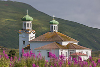 Cathedral of the holy ascension of christ, in the town of Unalaska, Unalaska Island, Dutch Harbor, Aleutian Islands, Alaska.