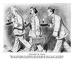 "Legislation by Pyjama. There are others besides the landowners of the country who are made to ""sit up"" by the Budget. (Mr. Winston Churchill was supposed to have been discovered on the Treasury Bench in pink pyjamas.) (an Edwardian cartoon shows Liberal British Prime Minister Herbert Henry Asquith leading Lloyd George carrying his Budget Box and Winston Churchill all in their pyjamas and carrying candles)"