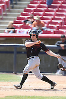Tyler O'Neill (4) of the Bakersfield Blaze bats during a game against the High Desert Mavericks at Mavericks Stadium on May 18, 2015 in Adelanto, California. High Desert defeated Bakersfield, 7-6. (Larry Goren/Four Seam Images)