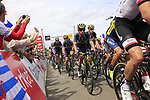 The peloton including Esteban Chaves (COL) Orica-Scott summit the Cat 3 climb of Cote d'Eschdorf during Stage 3 of the 104th edition of the Tour de France 2017, running 212.5km from Verviers, Belgium to Longwy, France. 3rd July 2017.<br /> Picture: Eoin Clarke | Cyclefile<br /> <br /> All photos usage must carry mandatory copyright credit (&copy; Cyclefile | Eoin Clarke)