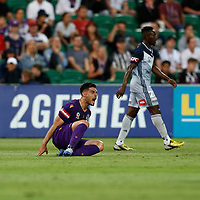 1st February 2020; HBF Park, Perth, Western Australia, Australia; A League Football, Perth Glory versus Melbourne Victory; Bruno Fornaroli of the Perth Glory lets the referee know he was upset about not being awarded a free kick