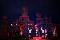red jersey (overall leader) + Green jersey winner Primoz Roglic (SVK/Jumbo-Visma) celebrates his first ever Grand Tour win next to World Champion Alejandro Valverde (ESP/Movistar) who finishes 2nd and white jersey / best young rider Tadej Pogačar (SVN/UAE-Emirates) who finishes 3rd.<br /> <br /> Stage 21: Fuenlabrada to Madrid (107km)<br /> La Vuelta 2019<br /> <br /> ©kramon