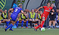 Portland, OR - Saturday July 30, 2016: Merritt Mathias, Jennifer Skogerboe during a regular season National Women's Soccer League (NWSL) match between the Portland Thorns FC and Seattle Reign FC at Providence Park.