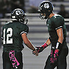 Jeremy Ruckert #1 of Lindenhurst, right, gets congratulated by Austin Perri #12 after kicking his second of three field goals in the first half of a Suffolk County Division I varsity football game against Ward Melville at Lindenhurst Middle School on Friday, Oct. 7, 2016. Lindenhurst went to halftime leading 16-7.