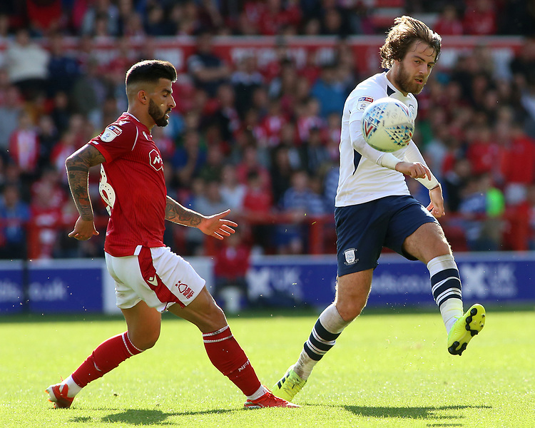 Preston North End's Ben Pearson in action<br /> <br /> Photographer David Shipman/CameraSport<br /> <br /> The EFL Sky Bet Championship - Nottingham Forest v Preston North End - Saturday 31st August 2019 - The City Ground - Nottingham<br /> <br /> World Copyright © 2019 CameraSport. All rights reserved. 43 Linden Ave. Countesthorpe. Leicester. England. LE8 5PG - Tel: +44 (0) 116 277 4147 - admin@camerasport.com - www.camerasport.com