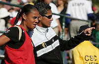 Assistant Coach Sissi (right) instructs Adriane (left) before heading onto the field. Los Angeles Sol defeated FC Gold Pride 2-0 at Buck Shaw Stadium in Santa Clara, California on May 24, 2009.