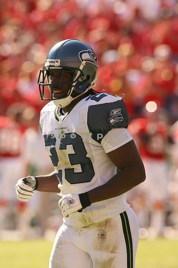 MARCUS TRUFANT, of the Seattle Seahawks in action against the Kansas City Chiefs on October 29, 2006 in Kansas City, MO...Chiefs win 35-28..Kevin Tanaka/ SportPics