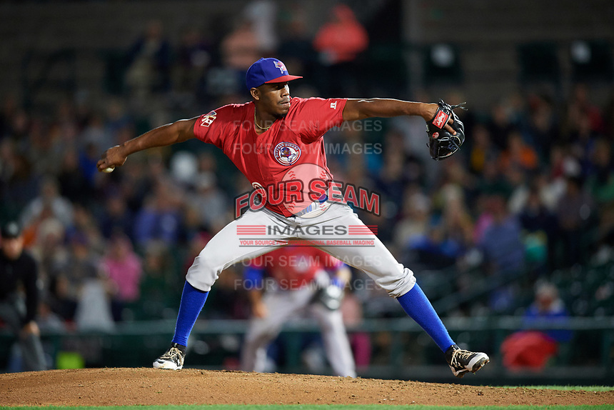 Buffalo Bisons relief pitcher Carlos Ramirez (40) delivers a pitch during a game against the Rochester Red Wings on August 25, 2017 at Frontier Field in Rochester, New York.  Buffalo defeated Rochester 2-1 in eleven innings.  (Mike Janes/Four Seam Images)