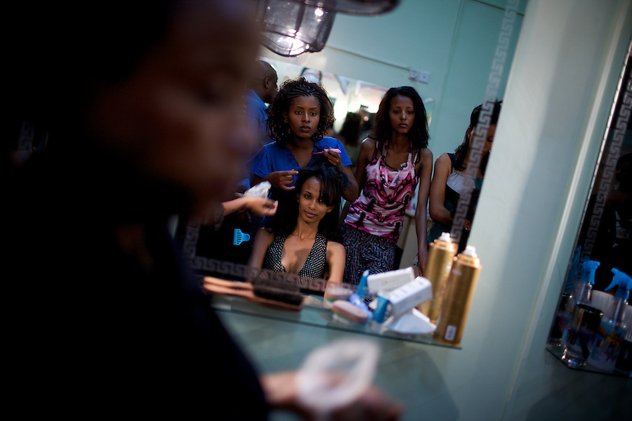 A Make up artist works on a contender for the crown during the 2009 Miss Ethiopia beauty pageant held at the Intercontinental Hotel in Ethiopia's Capital Addis Ababa on Sunday January 18 2009.