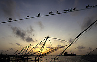 INDIA Kerala, Fort Cochin, chinese fishing net at port entry / INDIEN Kerala, Cochin Kochi, Kuestenfischer leeren die chinesischen stationären Senknetze an Hafeneinfahrt