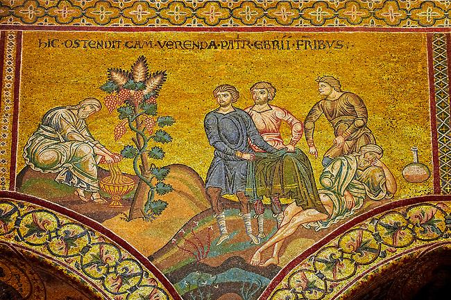 Medieval Byzantine mosaics of biblical senes, Monreale Cathedral, Sicily