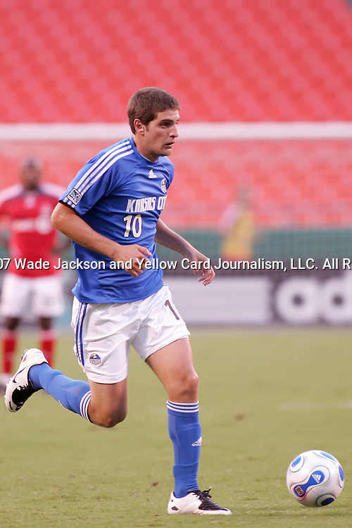 July 1 2007:  Carlos Marinelli (10) of the Wizards.  The MLS Kansas City Wizards tied the visiting Toronto FC 1-1 at Arrowhead Stadium in Kansas City, Missouri, in a regular season league soccer match.