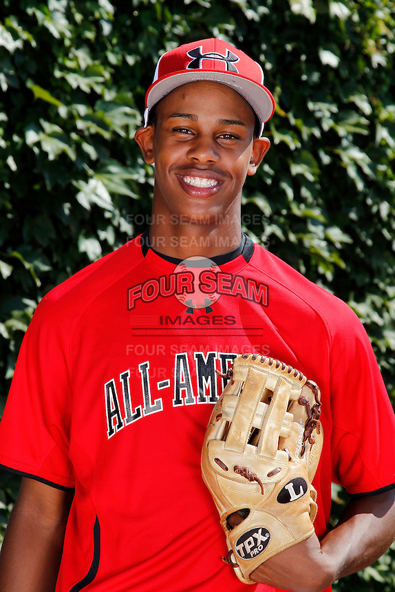 Pitcher Yency Almonte #9 poses for a photo before the Under Armour All-American Game at Wrigley Field on August 13, 2011 in Chicago, Illinois.  (Mike Janes/Four Seam Images)